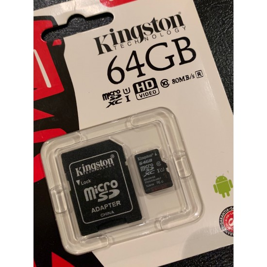 بطاقة الذاكرة كينجستون 64 جيجا مايكرو اس دي اتش سي كلاس 4 مع ادابتر - SDC4/64GB